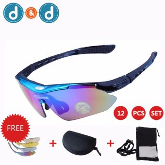 D&D 0089 Men Women Cycling Glasses UV400 Outdoor Sports Windproof Eyewear Mountain Bike Bicycle Motorcycle Sunglasses 12 PCS Set (Random)