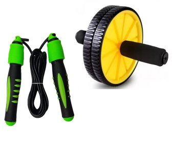 Digital Skipping Jump Rope With Calorie Counter With AB Wheel TotalBody Exerciser (Yelllow)
