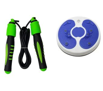 Digital Skipping Jump Rope With Calorie Counter With Foot MassageRound Twister Trimmer Waist Exercise Body