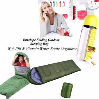 Envelope Folding Outdoor Sleeping Bag (Green) with Pill &Vitamin Water Bottle Organizer (Yellow)