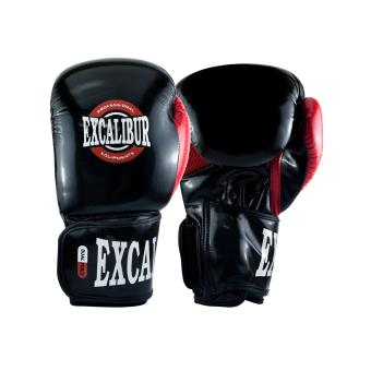 Excalibur Pu Premium Gloves Pindot Black/Red/Silver 12oz.