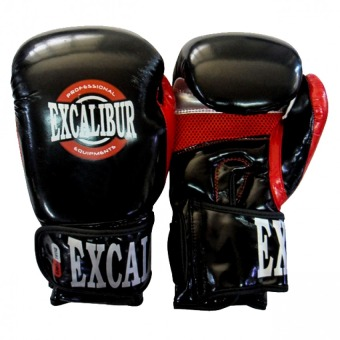 Excalibur Pu Premium Gloves Pindot Black/Red/Silver 16oz.