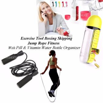 Exercise Tool Boxing Skipping Jump Rope Adjustable Bearing SpeedFitness (Black) with Pill & Vitamin Water Bottle Organizer(Yellow)