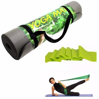 Extra Thick High Density Anti-Tear Exercise Yoga Mat with Carrying Strap (Gray) With Yoga Rubber Stretch Resistance Exercise Workout Fitness Band (Yellow Green)