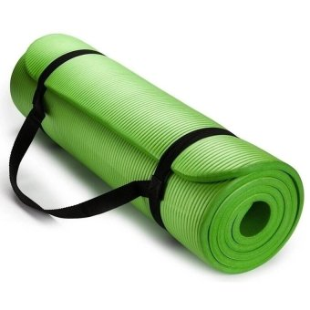 Extra Thick High Density Anti-Tear Exercise Yoga Mat with Carrying Strap (Green)