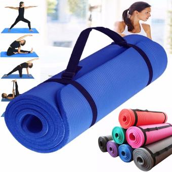 Extra Thick Yoga Mat Exercise With Carrying strap (Blue)