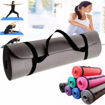 Extra Thick Yoga Mat Exercise With Carrying strap (Gray)