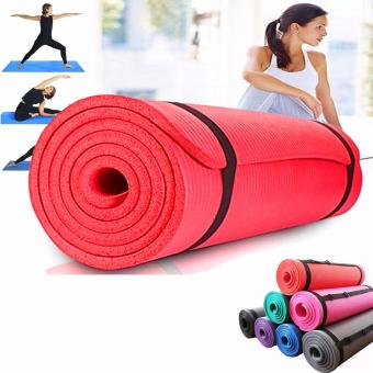 Extra Thick Yoga Mat Exercise With Carrying strap(Red)