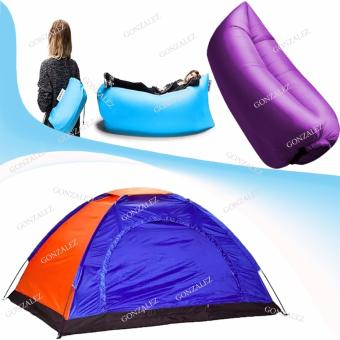 Fast Inflate Air Bed Lazy Sleeping Bed Folding Sofa/Chair (Violet)with 4-Person Dome Camping Tent (Blue)