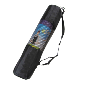 Fine Nylon Yoga Mat Bag Carrier Mesh Center Black W