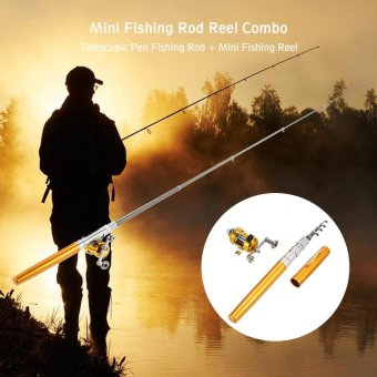 Fishing Rod Reel Combo Set Mini Telescopic Portable Pocket Pen Fishing Rod Pole + Reel Aluminum Alloy Fishing Line Soft Lures Baits Jig Hooks - intl