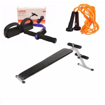 Fitness Pro Adjustable Sit Up Ab Bench (FSB-1201) PLUS Live up SOFT PULLS, live up JUMP ROPE