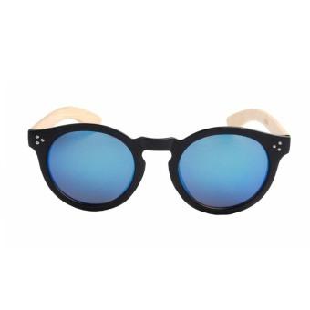 Frame Uv400 Aviator Round Bamboo Sunglasses Shadeseyewear Classic Retro Black Frame&Blue Lens - INTL