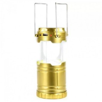 G-85 6 LED Solar Camping Lamp Rechargeable Lantern (Pure Gold)