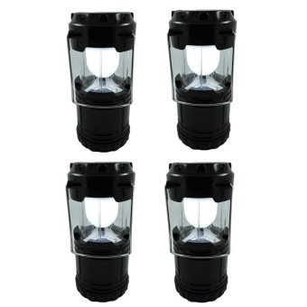 G-85 6 LED Solar Camping Lamp Rechargeable Lantern Set of 4 (Black)