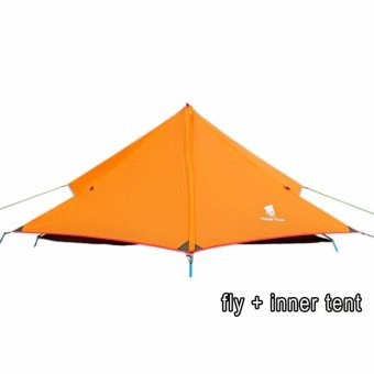 GEERTOP 1-person Ultra-light Tent For Camping Backpacking HikingClimbing (Pole NOT included) 3-seasons - Orange, fly + innertent - intl