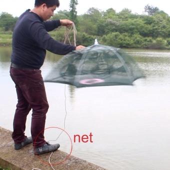 GOOD 12 Holes Nylon Automatic Fishing Net Shrimp Cage Foldable Fishing Cast Net - 4