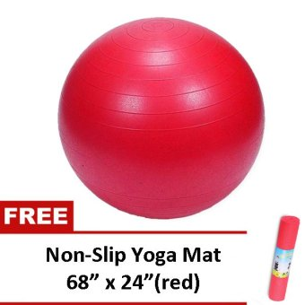 "Gym Ball (Red) with Free Non Slip Yoga Exercise Mat 68"" x 24"" (Red) Price Philippines"