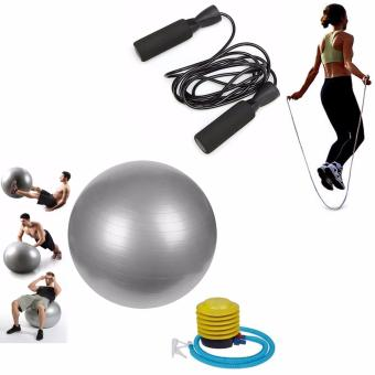 Gym Ball (Silver) with Exercise Tool Boxing Skipping Jump RopeAdjustable Bearing Speed Fitness (Black)