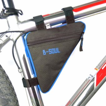 Hanyu Waterproof Triangle Water Bottle Pocket Cycling Bicycle FrontTube Frame Bags Mountain MTB Bike Pouch Holder Saddle Bag RidingAccessories(Black+Blue) - intl