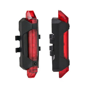 HengSong USB Charging Bike Taillight 5-LED 3 Mode RechargeableBicycle Riding Mountain Front Tail Rear Safety Warning Light Red -intl