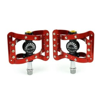 HKS Bicycle Platform Flat Pedals CNC Aluminum Spindle (Black/Red) - Intl