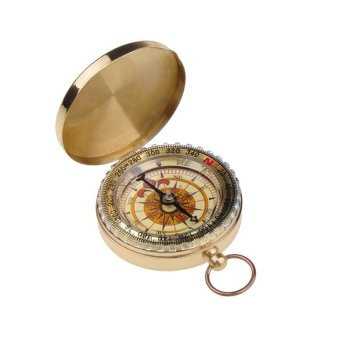 HKS Delicate Brass Pocket Compass Golden Outdoor Adventure - Intl