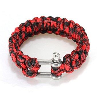 HKS Paracord Survival Weave Bracelet (Red/Black) - Intl