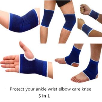 Harga 5 in 1 Fitness Exercise Protective Gear Ankle Bracelet Elbow Riding Equipment Knee Palm - intl