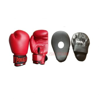 Harga Pokal 10oz Boxing gloves Red with Pokal Focus Mitts