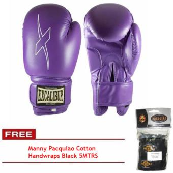 Harga Excalibur Viox PU Gloves Purple 10oz with Manny Pacquiao Cotton Handwraps Black 5MTRS
