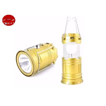 Harga SHOP AND THRIFT 5800 6 LED Solar Camping Lamp Rechargeable Lantern GOLD