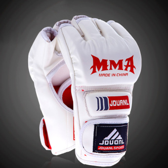 Harga Men's Boxing Gloves Half-fingered Sandbag Gloves MMA Points To Sanda Boxing Fighting Gloves White (30.0.35) - intl