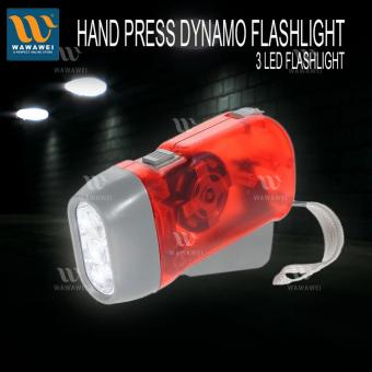 Harga Wawawei New Style Hand Pressing Power Charging Flashlight Bright 3 LED Torch Light (RED)