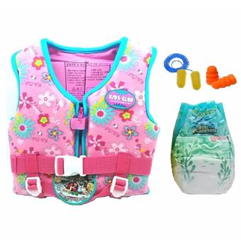 Harga Timo Printed Life Jacket/ Life Vest/ Swim Vest for Kids (Pink) with Huggies Diaper (S) and 3M Earplugs