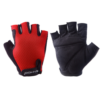 Harga SAHOO Outdoor Bike Black Bicycle Breathable Sport Cycling Gloves Red