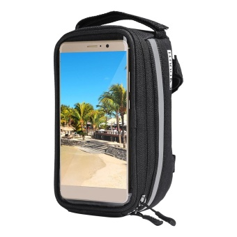 Harga Mountain Bike Front Frame Handlebar Bag Pouch Waterproof Touch Screen Cellphone Case(Black L) - intl