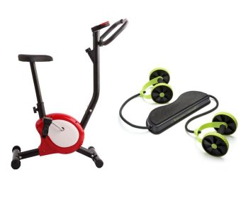 Harga Indoor Upright Stationary Belt Exercise Bike (Black/Red) With Revoflex Xtreme Muscle Toning Kit