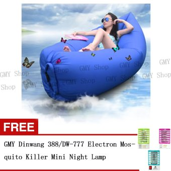 Harga GMY Fast Inflatable Hangout Lounge Chair Air Sofa Bag Sleeping Bed (SkyBlue) - Intl with Free 1 of Dinwang 388/DW-777 Electron Mosquito Killer Mini Night Lamp