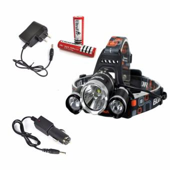 Harga Boruit RJ-3000 4000Lm Cree 3XM-L T6 LED Zoomable 4 Modes Headlamp Headlight for Camping, Hiking, Reading, Cycling, Hunting, Running With 2x18650 Rechargeable Batteries+AC & Car Charge