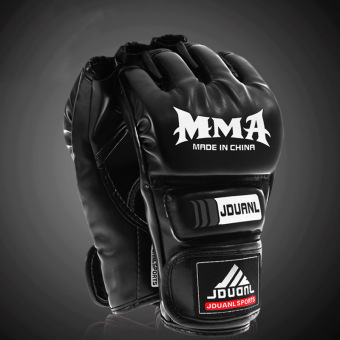 Harga Men's Boxing Gloves Half-fingered Sandbag Gloves MMA Points To Sanda Boxing Fighting Gloves Black (30.0.35) - intl