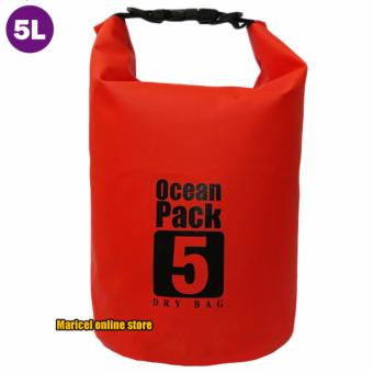 Harga Ocean Pack Waterproof Floating Dry Bag 5L ideal for Outdoor Sports (Red)