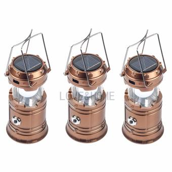 Harga LOVE&HOME Portable LED Solar Camping Lamp Rechargeable Lantern (Gold) Set Of 3