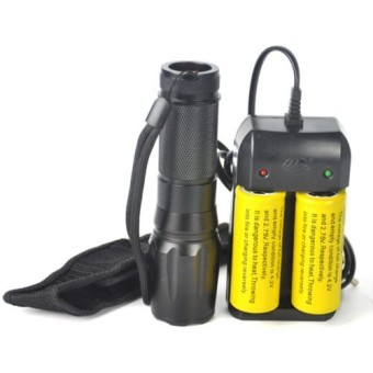Harga Tactical 5000 LM XM-L T6 LED Zoomable Flashlight Torch Lamp+2X 26650+Charger+Bag