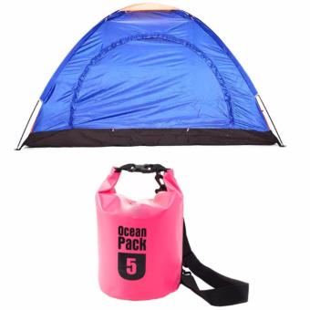 Harga 8-Person Dome Camping Tent (Multicolor) with Ocean Pack Waterproof Floating Dry Bag 5L ideal for Outdoor Sports (Pink)