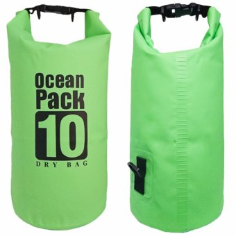 Harga Ocean Pack Waterproof Floating Dry Bag 10L ideal for Outdoor Sports (Green)