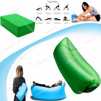 Harga Fast Inflate Air Bed Lazy Sleeping Bed Folding Sofa/Chair (Green) with Yoga Brick Foam for Exercise and Health Fitness (Green)