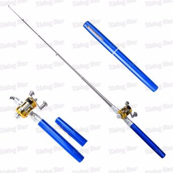 Harga Rising Star Aluminum alloy mini portable fishing rod pen (Blue)