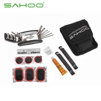 Harga SAHOO Herramientas Bicicleta MTB Mountain Bike Tools Bag 16 in 1 Foldable Bicycle Tools Cycling Tire Repair Tools Kits, Black - intl