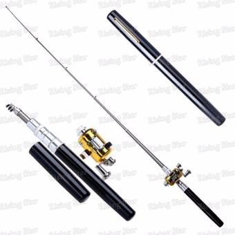 Harga Rising Star Aluminum alloy mini portable fishing rod pen (Black)